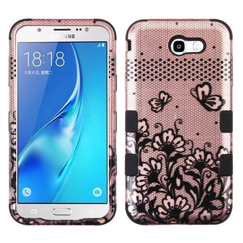 Insten Tuff Lace Flower Hard Case For Samsung Galaxy J7 (2017)/J7 Perx/J7 Sky Pro/J7 V - Black