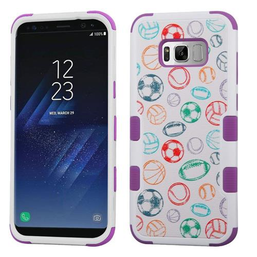 Insten Tuff Battle Of Balls Hard Hybrid Silicone Cover Case For Samsung Galaxy S8 Plus, White/Purple
