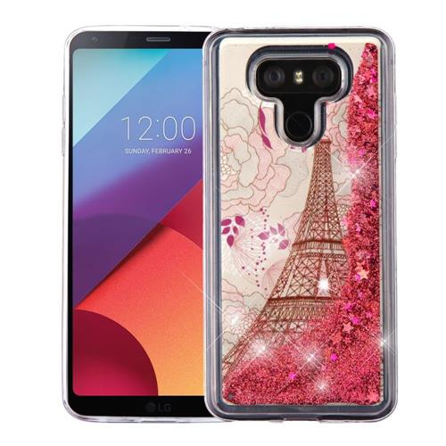 Insten Quicksand Eiffel Tower Hard Glitter TPU Cover Case For LG G6 - Rose Gold