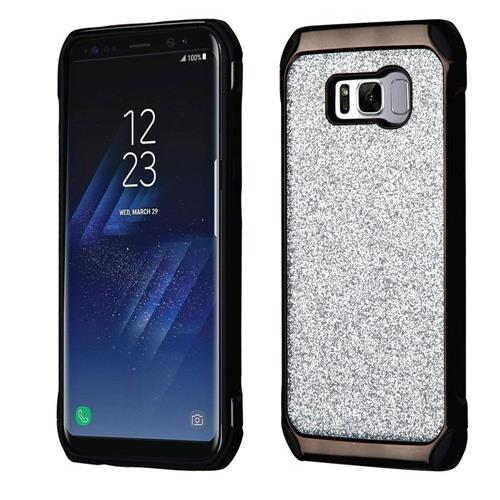 Insten Hard Hybrid Glitter TPU Cover Case For Samsung Galaxy S8 - Silver/Black