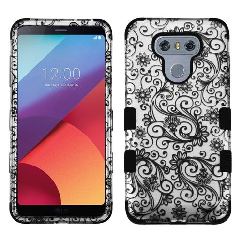 Insten Tuff Four-leaf Clover Hard Dual Layer Rubberized Silicone Case For LG G6 - Black/Silver
