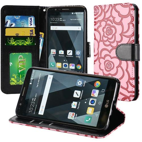 Insten Roses Flip Leather Fabric Case Lanyard w/stand/card slot For LG Stylo 3 - Pink/Black