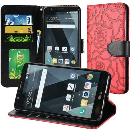 Insten Roses Flip Leather Fabric Cover Case Lanyard w/stand/card holder For LG Stylo 3 - Red/Black
