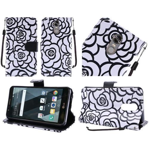 Insten Roses Flip Leather Fabric Case Lanyard w/stand/card holder For LG Stylo 3 - White/Black