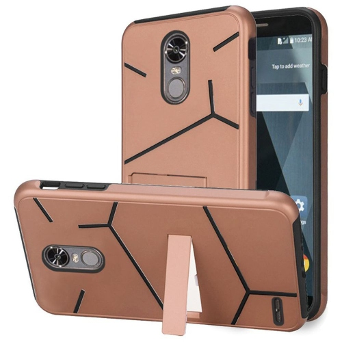 Insten Hard Dual Layer TPU Case w/stand For LG Stylo 3 - Rose Gold/Black
