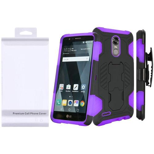 Insten Hard Dual Layer Silicone Case w/stand/Holster For LG Stylo 3 - Black/Purple