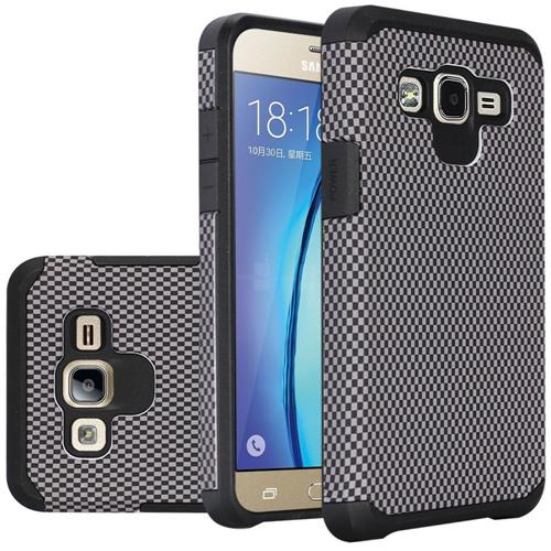 Insten Carbon Fiber Hard Dual Layer Rubber Coated Silicone Case For Samsung Galaxy On5 - Black