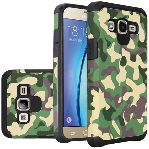 Insten Camouflage Hard Dual Layer Rubberized Silicone Case For Samsung Galaxy On5 - Green/Black