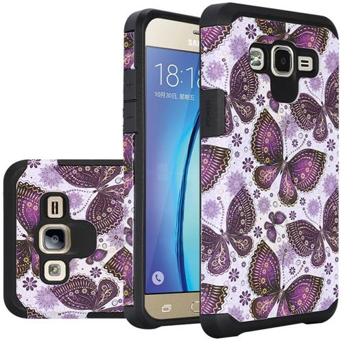 Insten Butterflies Hard Dual Layer Silicone Cover Case For Samsung Galaxy On5 - White/Purple