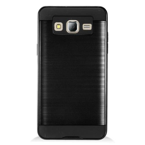 Insten Chrome Dual Layer Brushed Hard Case For Samsung Galaxy On5 - Black