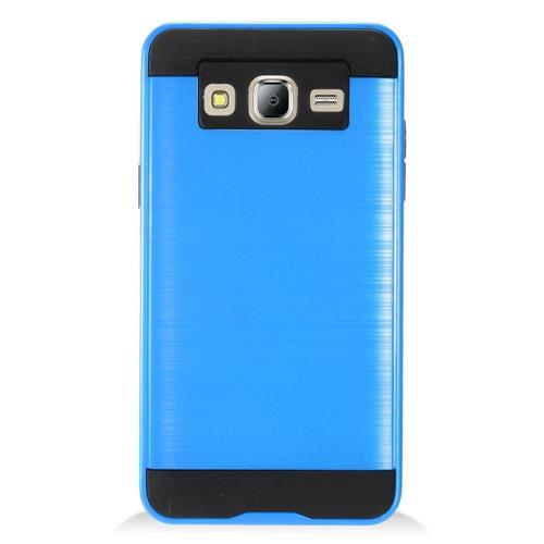 Insten Chrome Dual Layer Brushed Hard Case For Samsung Galaxy On5 - Blue/Black