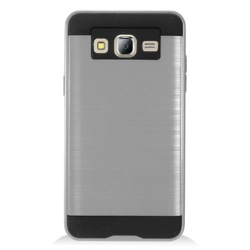 Insten Chrome Hybrid Brushed Hard Cover Case For Samsung Galaxy On5 - Gray/Black