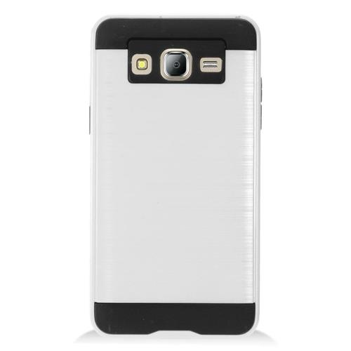 Insten Chrome Dual Layer Brushed Hard Case For Samsung Galaxy On5 - Silver/Black