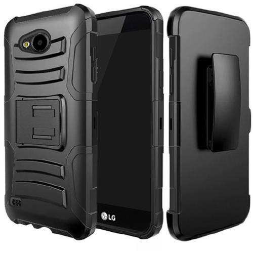 Insten Hard Hybrid Plastic Silicone Case w/Holster For LG X Venture, Black