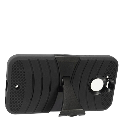 Insten Gel Hybrid Rubber Hard Case w/stand For HTC Bolt - Black