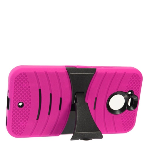 Insten Rubber Hybrid Hard Cover Case w/stand For HTC Bolt - Hot Pink/Black