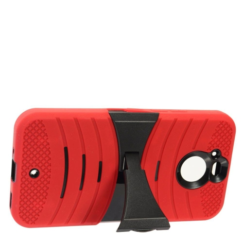 Insten Silicone Dual Layer Rubber Hard Case w/stand For HTC Bolt - Red/Black