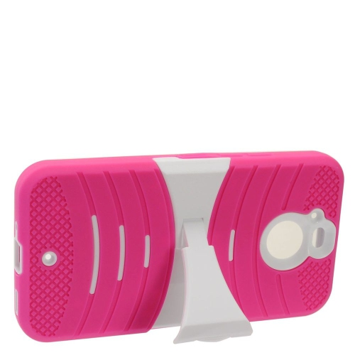 Insten Skin Hybrid Rubber Hard Cover Case w/stand For HTC Bolt - Hot Pink/White