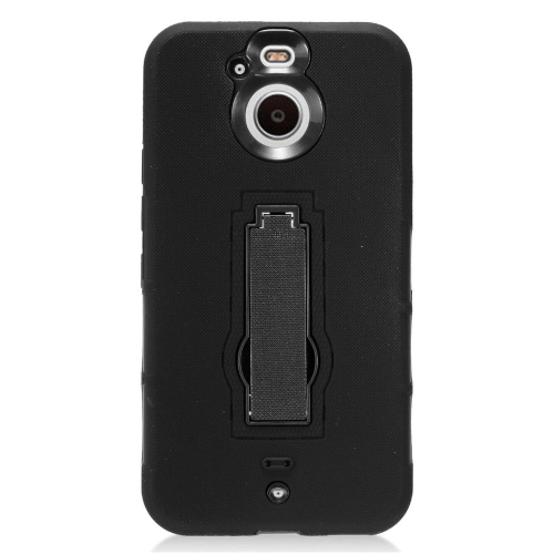 Insten Silicone Dual Layer Rubber Hard Cover Case w/stand For HTC Bolt - Black