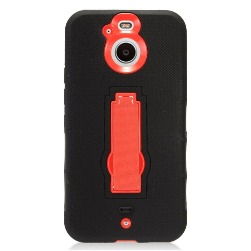 Insten Soft Hybrid Rubber Hard Cover Case w/stand For HTC Bolt - Black/Red