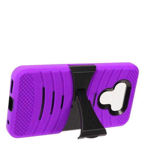 Insten Gel Dual Layer Rubber Hard Cover Case w/stand For LG G6 - Purple/Black