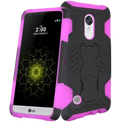 Insten Hard Hybrid TPU Case w/stand For LG Grace 4G/Harmony/K20 Plus/K20 V, Black/Hot Pink