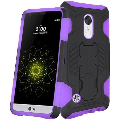 Insten Hard Hybrid TPU Case w/stand For LG Grace 4G/Harmony/K20 Plus/K20 V, Black/Purple