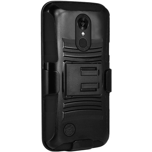 Insten Hard Hybrid Plastic Silicone Case w/Holster For LG Grace 4G/Harmony/K20 Plus/K20 V, Black