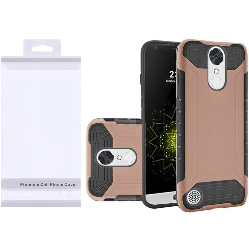 Insten Hybrid Rubber Coated Silicone Case For LG Grace 4G/Harmony/K20 Plus/K20 V, Rose Gold/Black