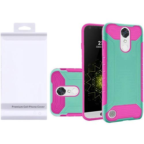 Insten Hard Rubber Coated Silicone Case For LG Grace 4G/Harmony/K20 Plus/K20 V, Teal/Hot Pink