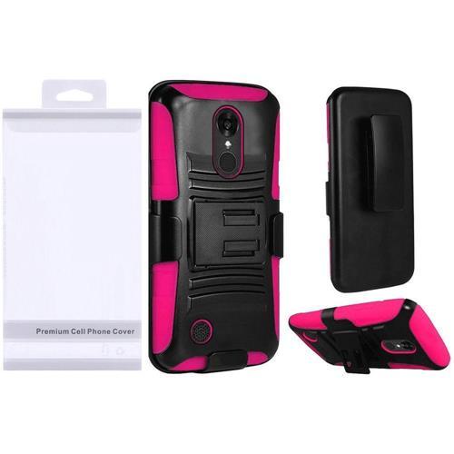 Insten Hybrid Plastic Silicone Case w/Holster For LG Grace 4G/Harmony/K20 Plus/K20 V, Black/Hot Pink