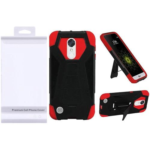 Insten Hard Plastic Silicone Case w/stand For LG Grace 4G/Harmony/K20 Plus/K20 V, Black/Red