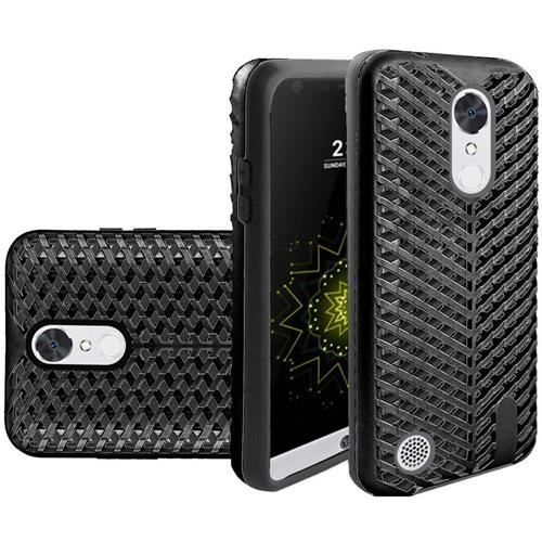 Insten Hard Dual Layer Silicone Cover Case For LG Grace 4G/Harmony/K20 Plus/K20 V, Black