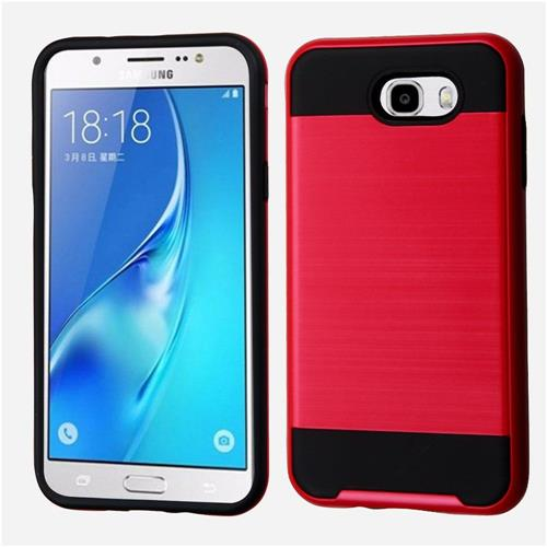 Insten Hard Hybrid TPU Cover Case For Samsung Galaxy J7 (2017)/Sky Pro - Red/Black