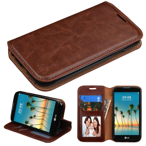 Insten Folio Leather Fabric Case w/stand/card holder/Photo Display For LG K3 (2017) - Brown