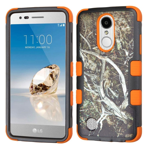Insten Vines Hybrid Rubber Silicone Case For LG Aristo/Fortune/K8 (2017)/LV3/Phoenix 3, Black/Orange