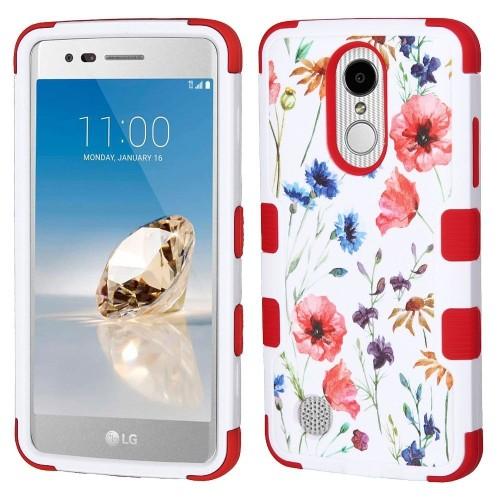 Insten Flowers Hard Rubberized Cover Case For LG Aristo/Fortune/K8 (2017)/LV3/Phoenix 3, Red/White