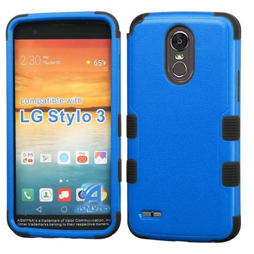 Insten Tuff Hard Dual Layer Rubber Silicone Cover Case For LG Stylo 3 - Blue/Black
