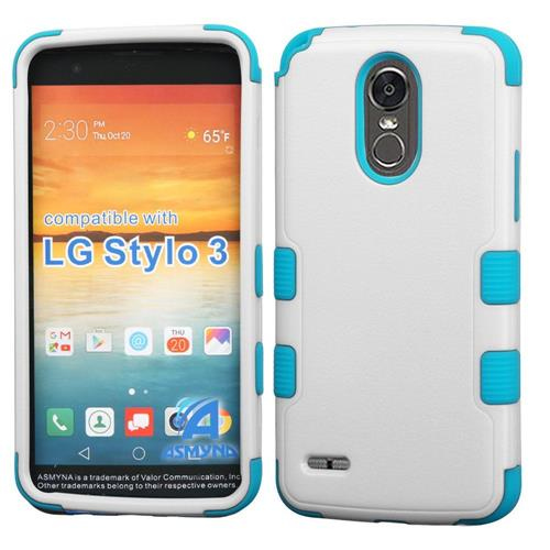 Insten Tuff Hard Dual Layer Rubberized Silicone Case For LG Stylo 3 - White/Blue