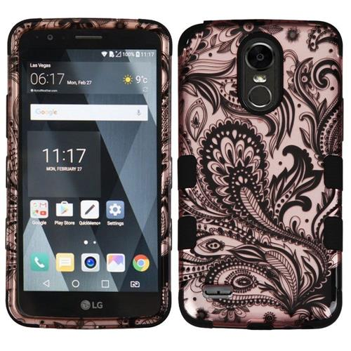 Insten Phoenix Flower Hard Dual Layer Rubberized Silicone Cover Case For LG Stylo 3, Rose Gold/Black