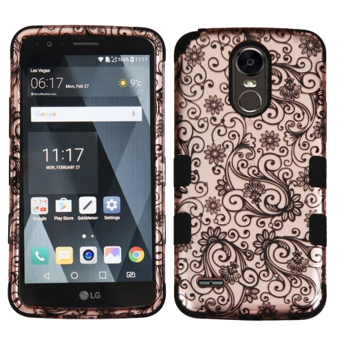 Insten Four-leaf Clover Hard Rubberized Silicone Cover Case For LG Stylo 3, Rose Gold/Black