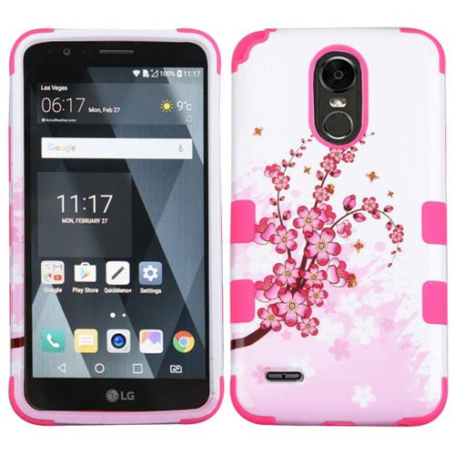 Insten Tuff Spring Flowers Hard Dual Layer Rubberized Silicone Case For LG Stylo 3 - Pink/White