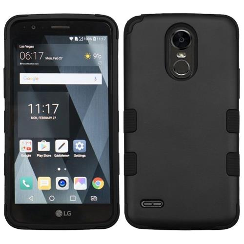 Insten Tuff Hard Dual Layer Rubber Coated Silicone Cover Case For LG Stylo 3 - Black