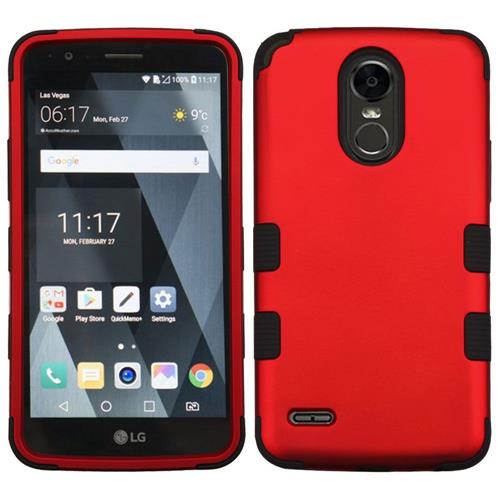 Insten Tuff Hard Dual Layer Rubber Silicone Cover Case For LG Stylo 3 - Red/Black
