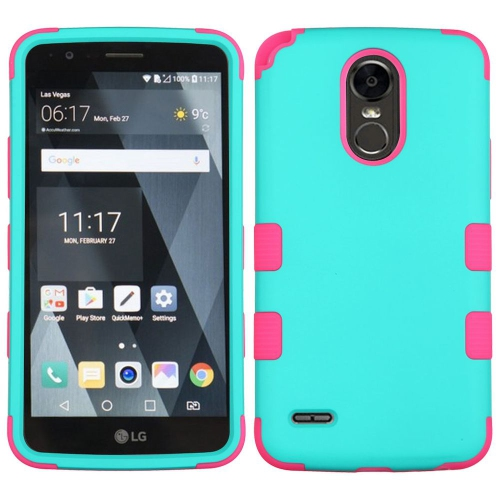 Insten Tuff Hard Hybrid Rubber Coated Silicone Case For LG Stylo 3 - Teal/Hot Pink