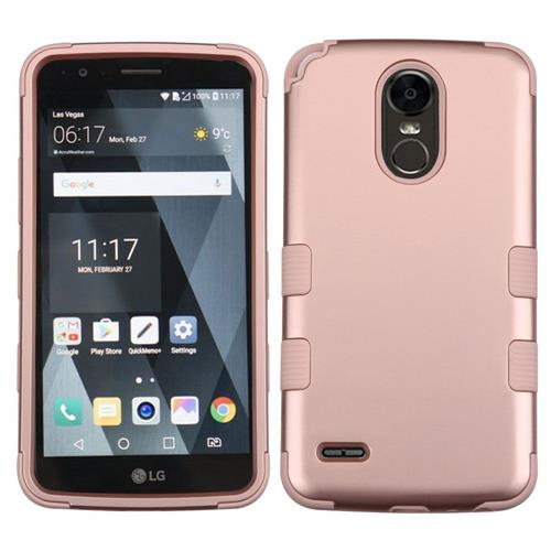 Insten Tuff Hard Dual Layer Rubberized Silicone Cover Case For LG Stylo 3 - Rose Gold