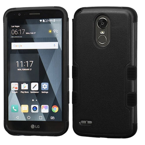 Insten Tuff Hard Dual Layer Rubber Silicone Cover Case For LG Stylo 3 - Black