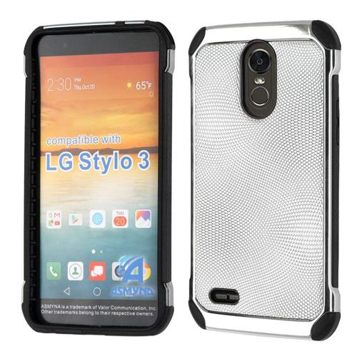 Insten Hard Dual Layer TPU Cover Case For LG Stylo 3 - Silver/Black