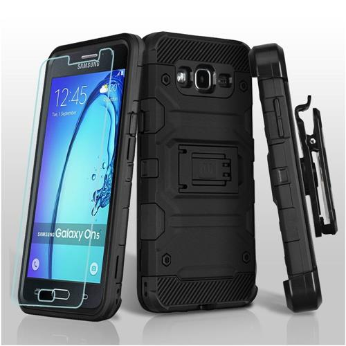 Insten Hard Hybrid TPU Case w/Holster/Installed For Samsung Galaxy On5 - Black
