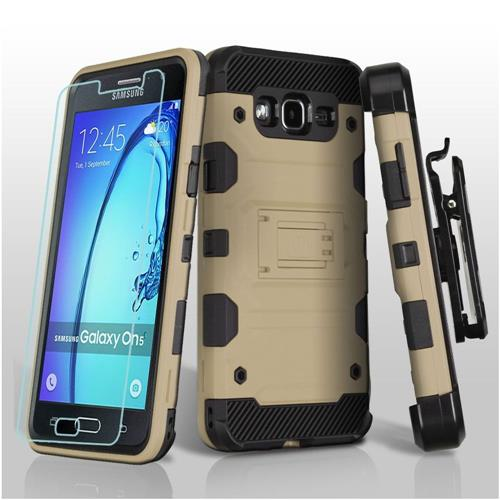 Insten Hard Dual Layer TPU Case w/Holster/Installed For Samsung Galaxy On5 - Gold/Black